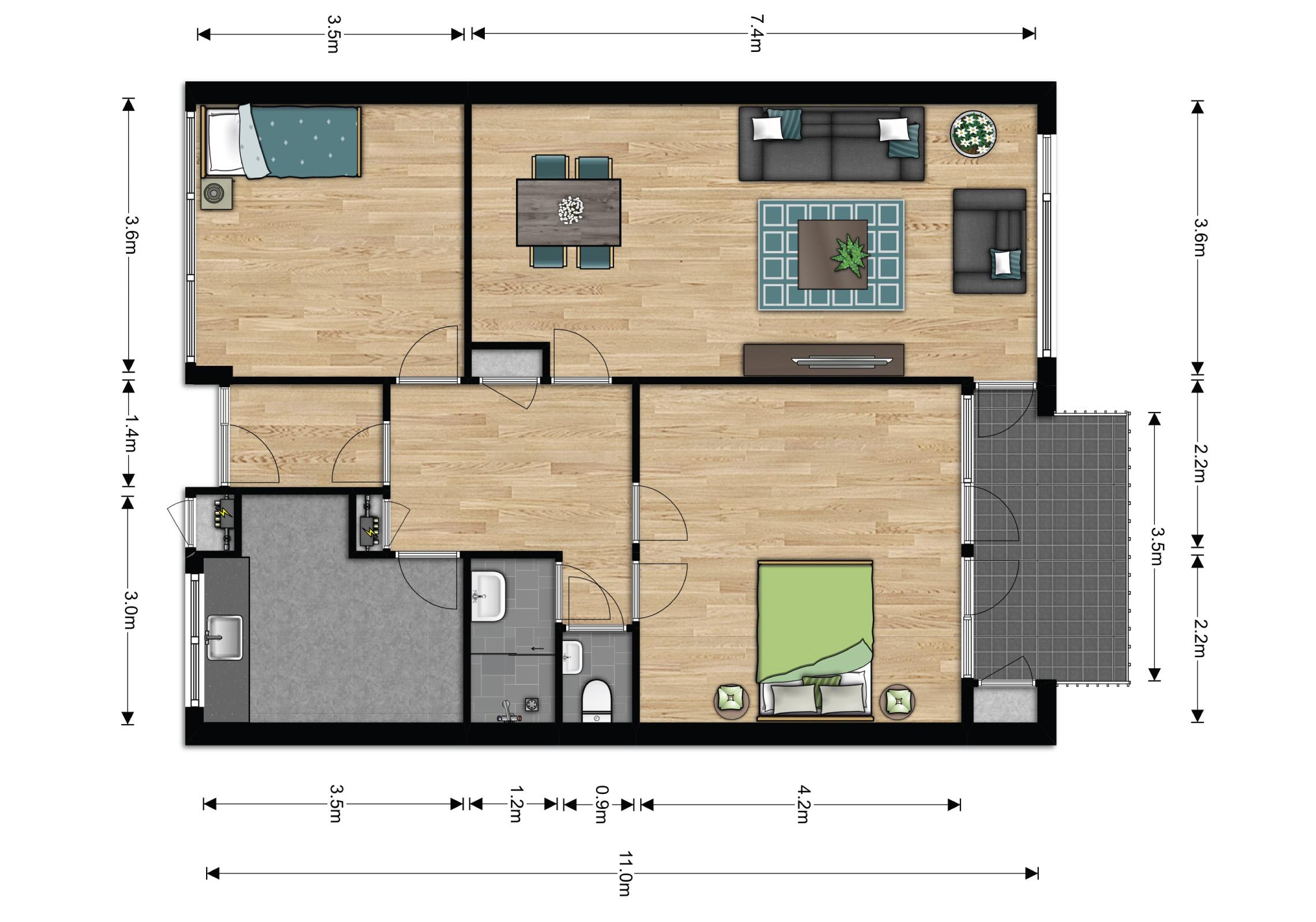 3 Kamer appartement - Huren in Elst